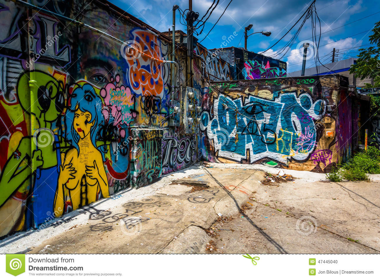 Graffiti on walls in an alley in little five points atlanta ge stock photo
