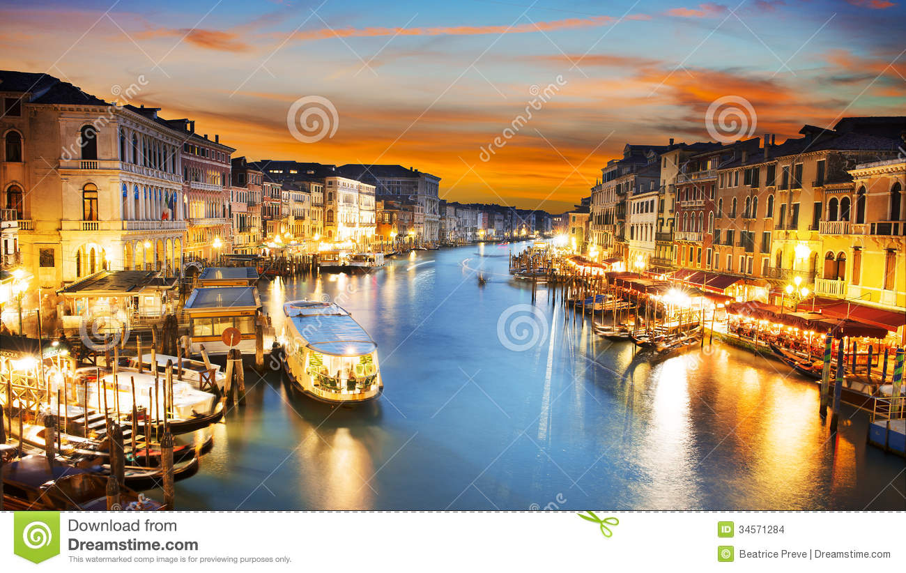 3d City Wallpaper Hd Grand Canal At Night Venice Stock Images Image 34571284