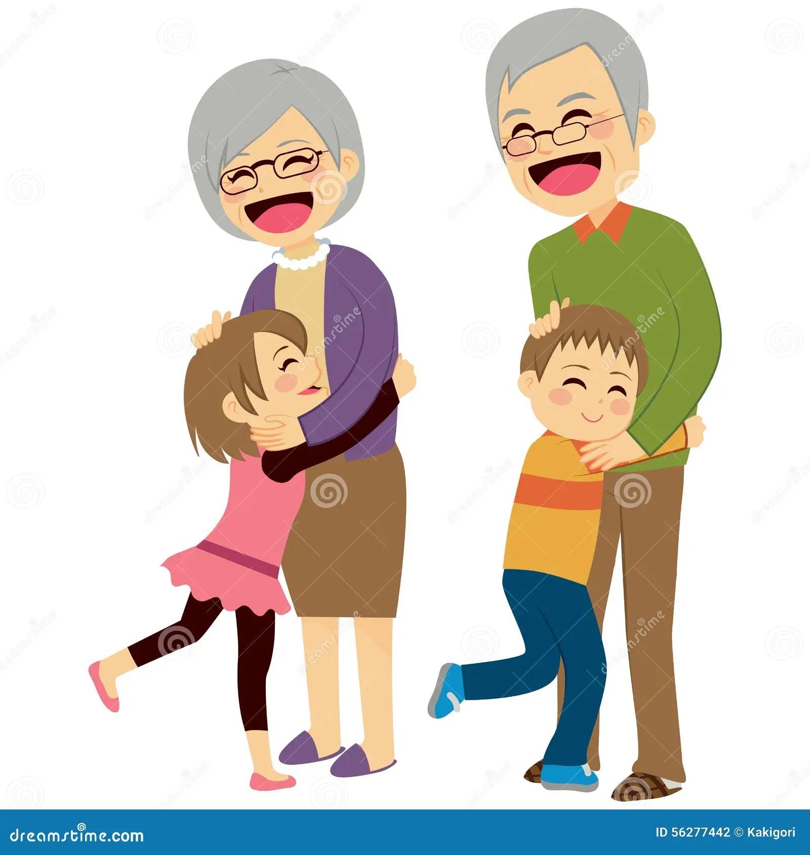 Persona 4 The Animation Wallpaper Grandchildren Hugging Grandparents Stock Vector