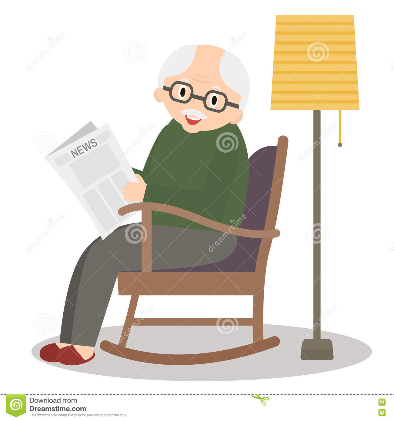 Cute Reading Chairs Elderly Man In Rocking Chair Vector Cartoon Vector