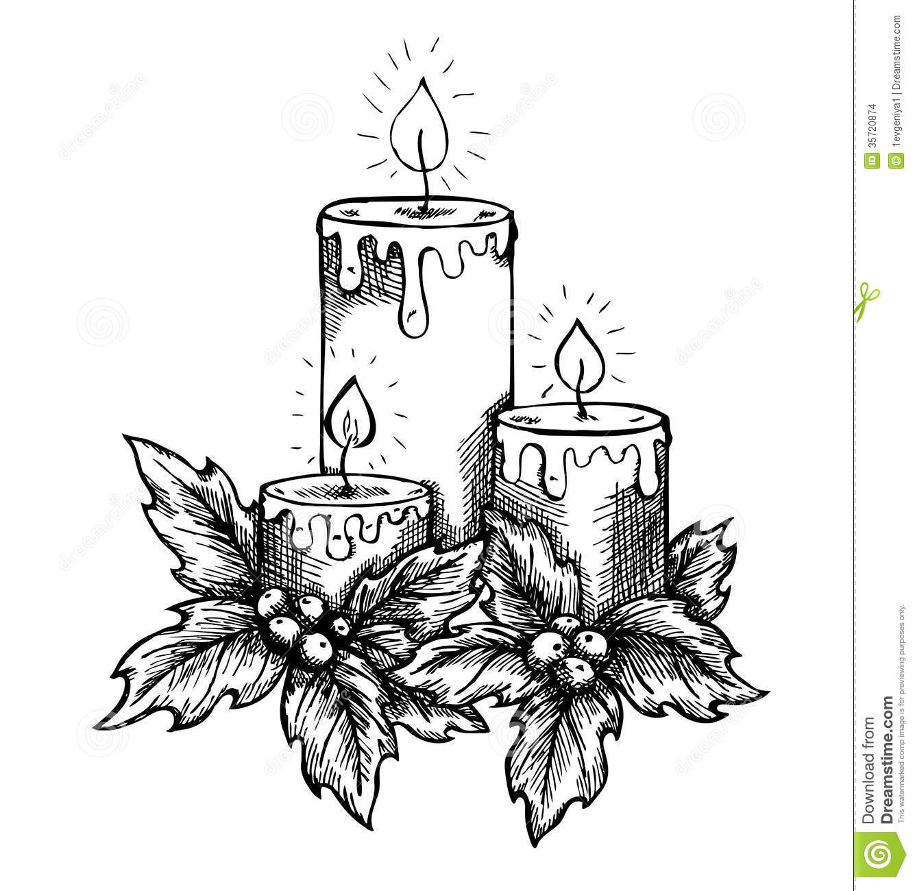 Christmas Candle Black And White Graphic Drawing Candles And Holly Berries And Leav Stock