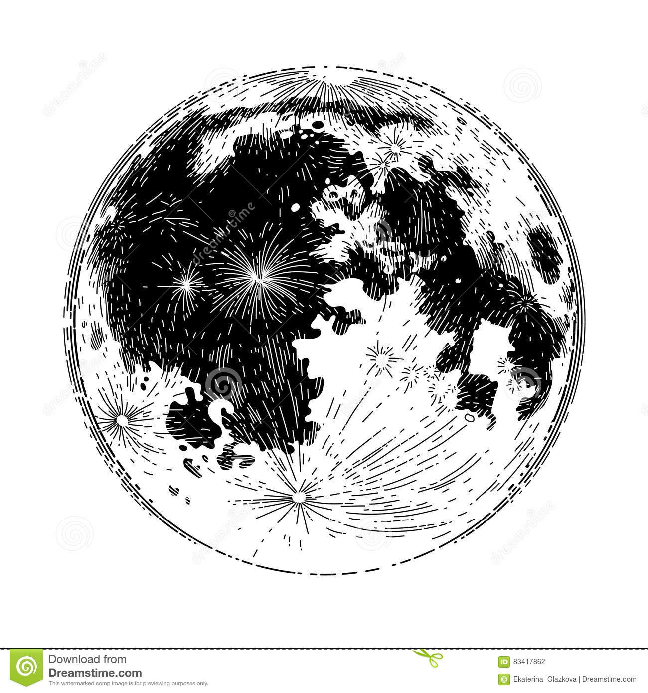 Full Moon Drawing Black And White Graphic Full Moon Stock Vector Illustration Of Lunar