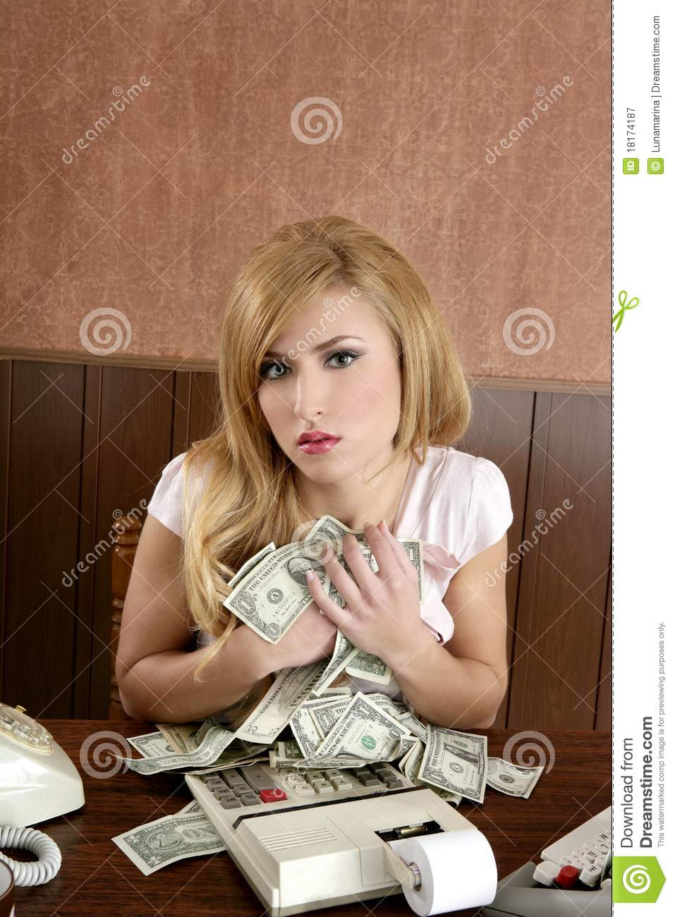 Girl Holding Money Wallpaper Greed Money Retro Woman Office Vintage Accountant Royalty