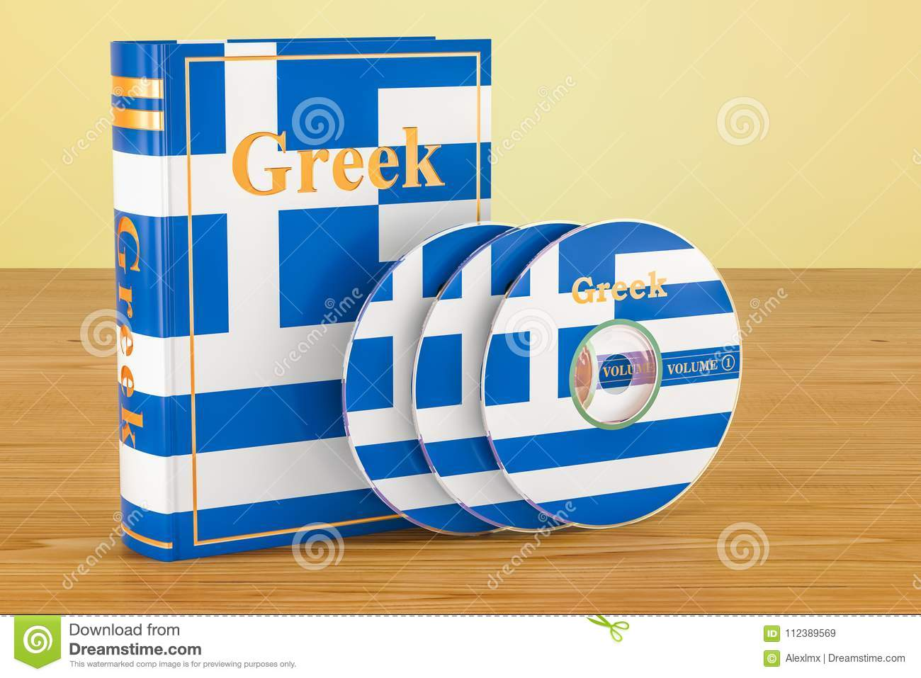 Greek Language Greek Language Textbook With Flag Of Greece And Cd Discs On The