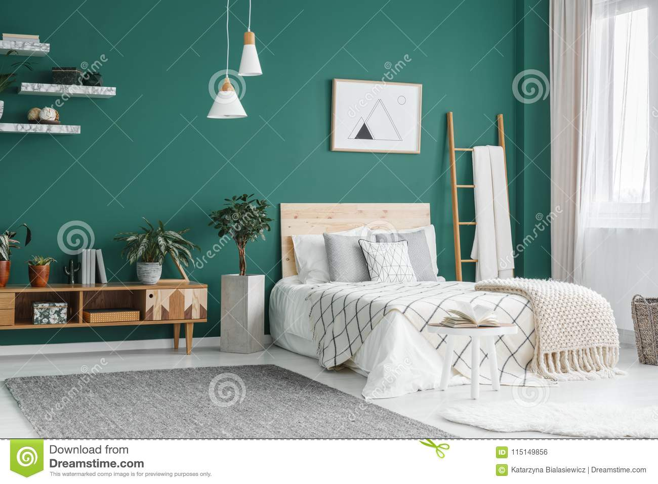 Boho Bedroom Green Boho Bedroom Interior Stock Photo Image Of Carpet Green