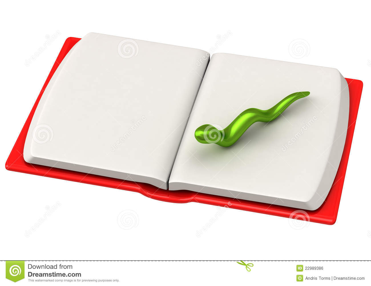 3d Open Green Bookworm On Open Book Page 3d Stock Illustration