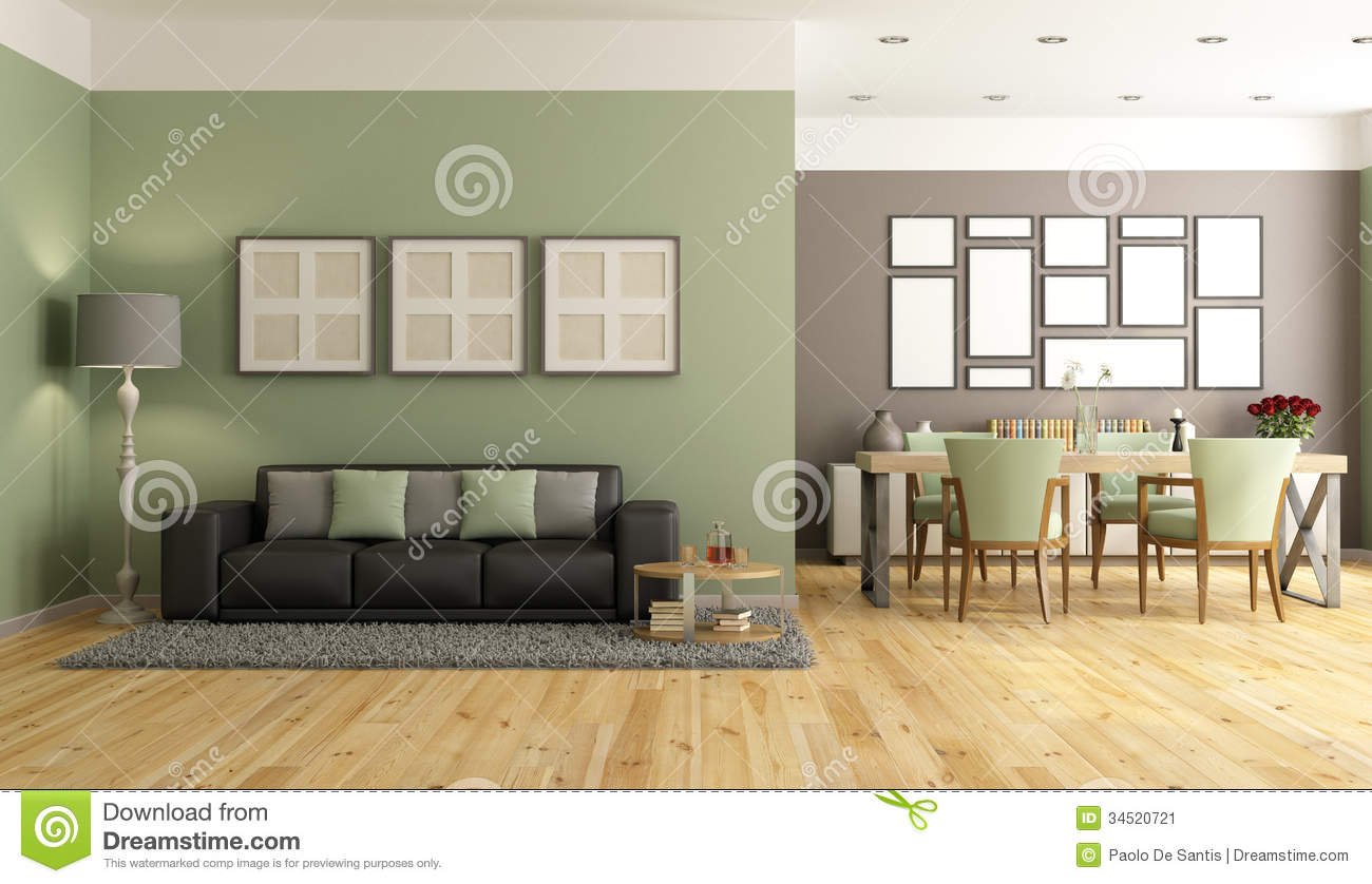 Wandfarbe Zu Buche Green And Brown Modern Lounge Stock Illustration - Image