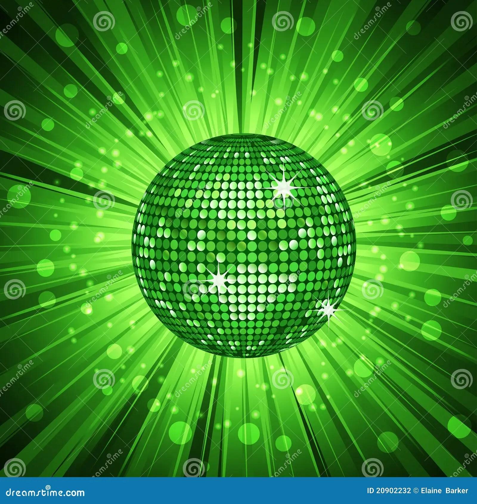 Neon Wallpaper Hd Green Disco Ball And Light Burst Stock Vector