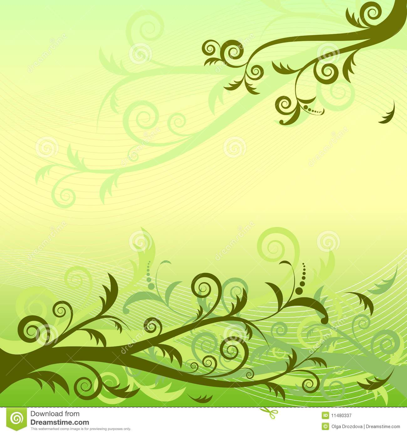 Cute Bordered Pastel Flower Wallpaper Green Floral Background Vector Royalty Free Stock
