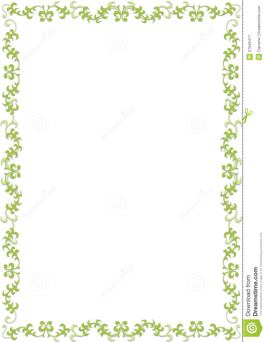 Cute Bordered Pastel Flower Wallpaper Green Floral Border Royalty Free Stock Photography Image