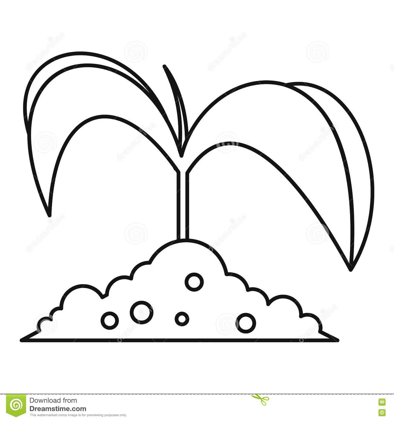 Green Seedling In Soil Icon Outline Style Stock Vector