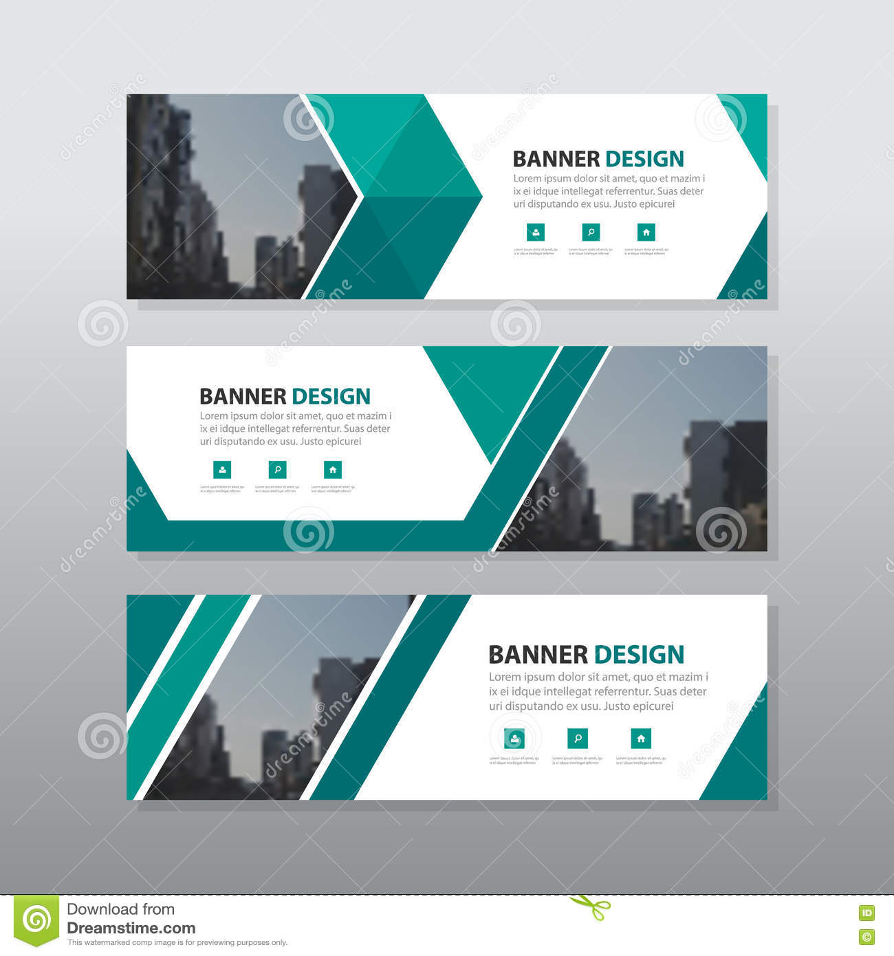 Store Banne Horizontal Green Triangle Abstract Corporate Business Banner Template