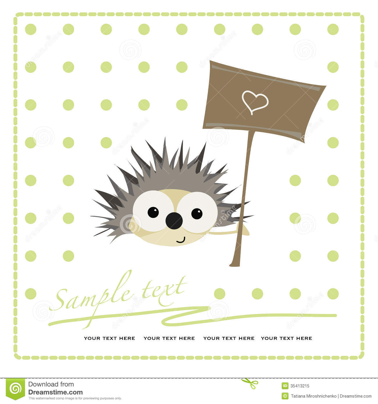 Cute Baby Girl Wallpaper Free Download Greeting Card With Funny Cartoon Hedgehog Royalty Free
