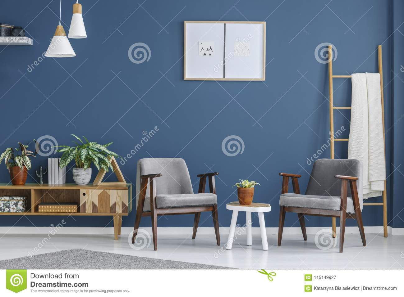 Grey White And Blue Living Room Grey And Blue Living Room Stock Image Image Of Modern 115149927