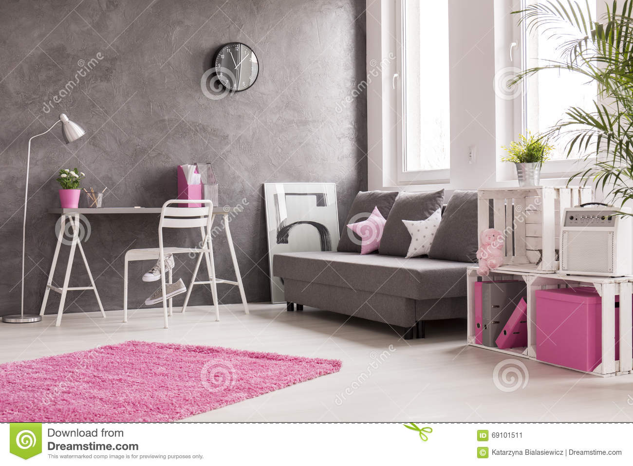 Woonkamer Roze Grey Living Room With Pink And White Details Stock Image