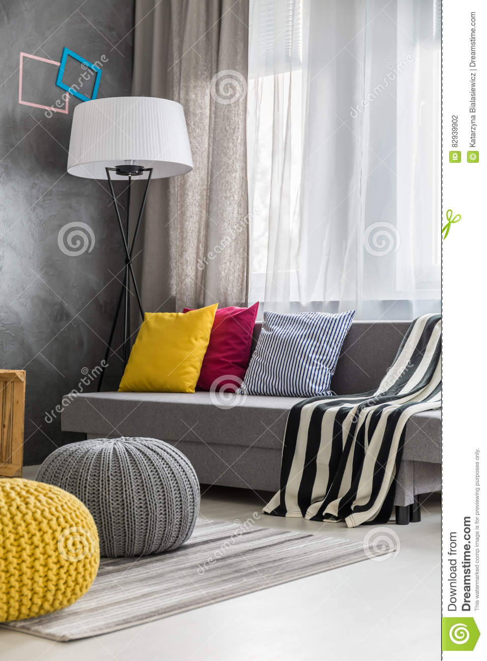 Grey Sofa In Lounge Grey Sofa In Modern Lounge Stock Photo Image Of Style 82939902