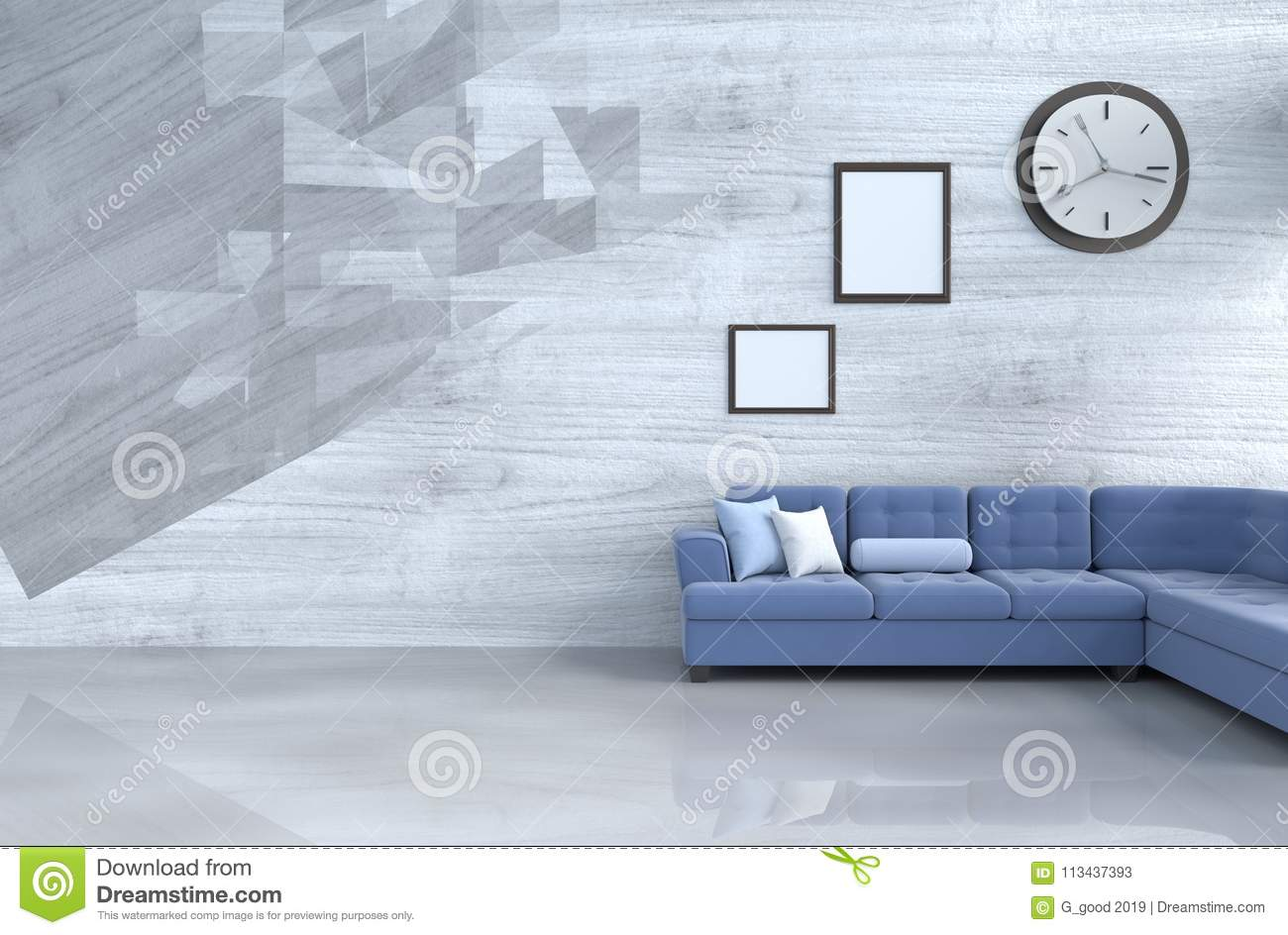 Grey White And Blue Living Room Grey White Living Room Decor With Blue Sofa Stock Image Image Of