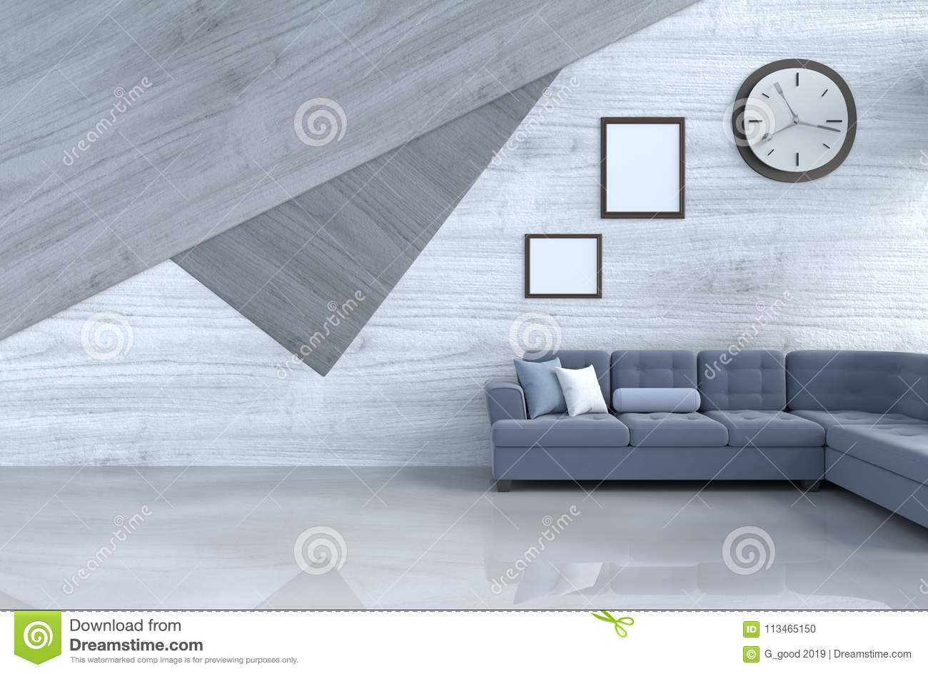 Grey White And Blue Living Room Grey White Living Room Decor With Blue Sofa Stock Illustration