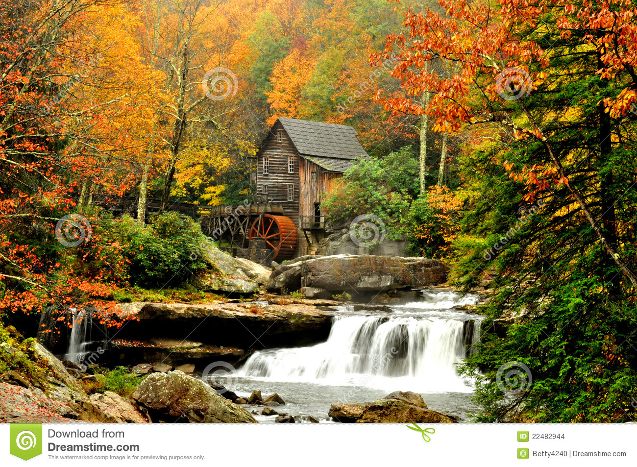 Fall Leaves Falling Wallpaper Grist Mill Surrounded By Fall Leaves Stock Photo Image