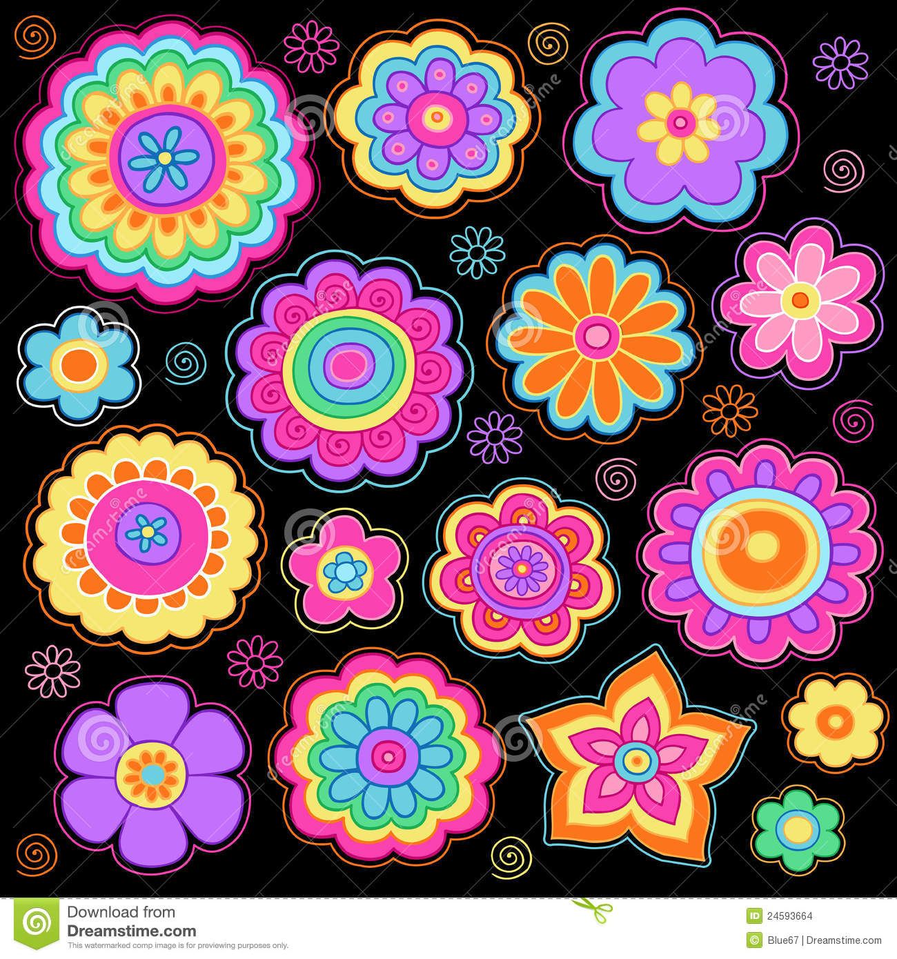 Cute Girly Girl Wallpapers Groovy Flowers Psychedelic Doodles Vector Set Stock