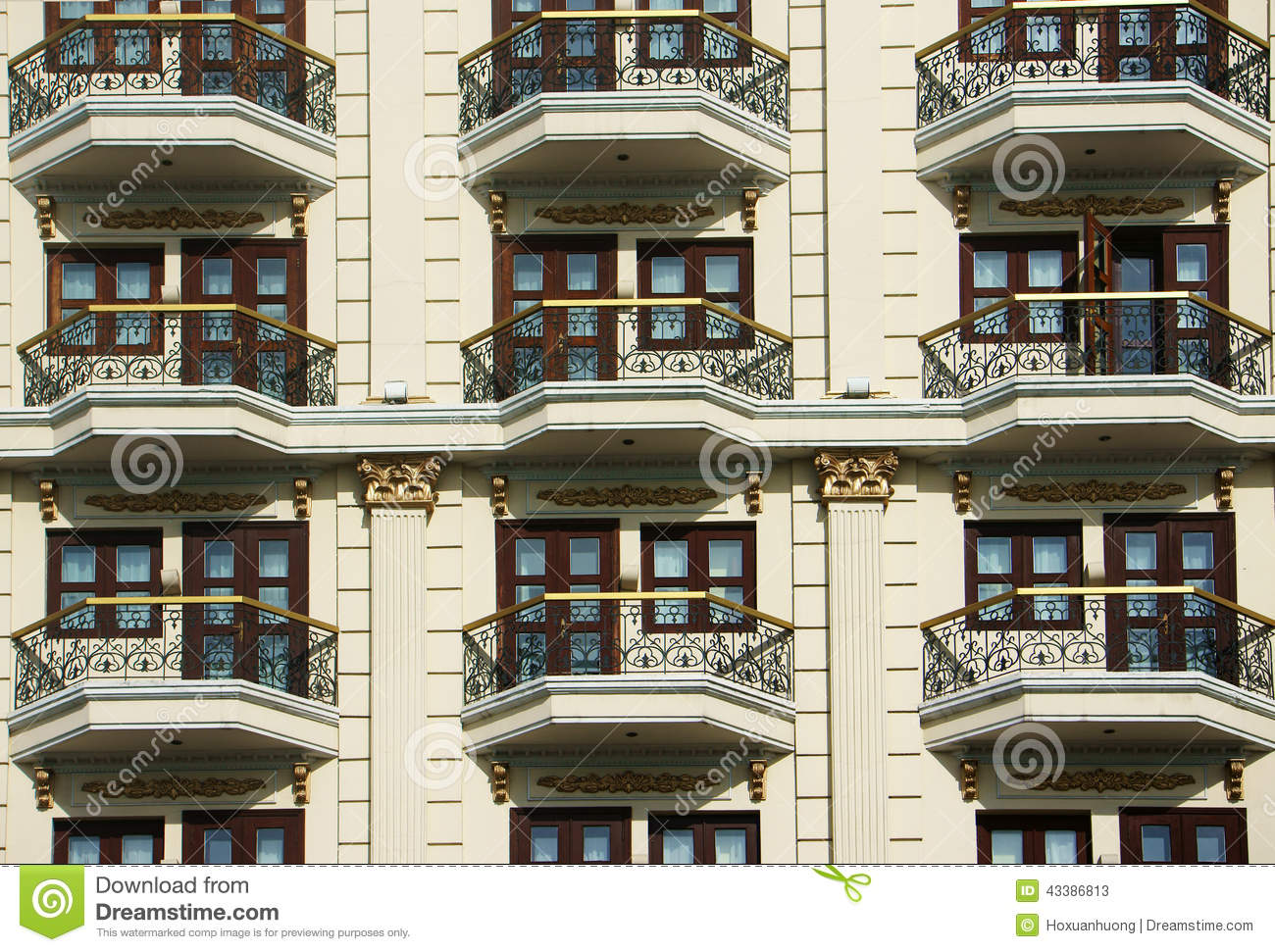 Hotel Exterior Design Group Of Door Window At Hotel Stock Image Image Of