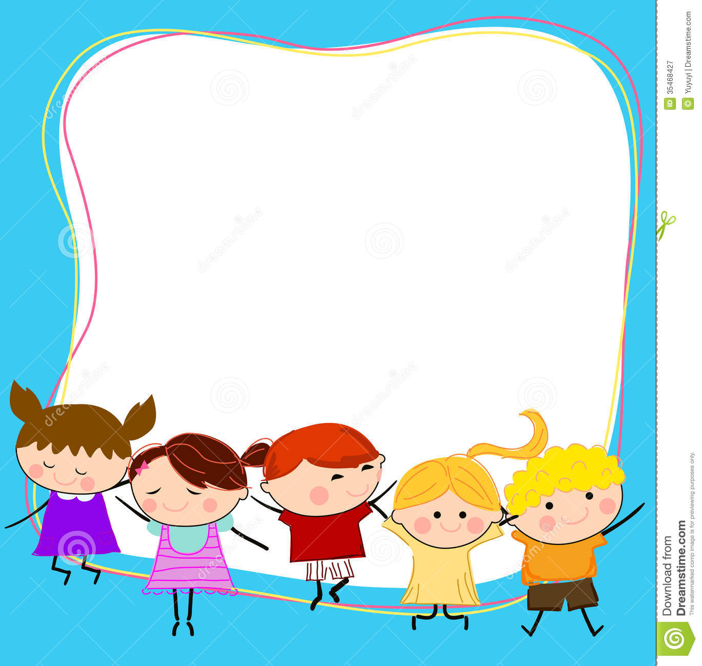 Cute Toddlers Playing Cartoon Wallpaper Group Of Kids Having Fun And Frame Royalty Free Stock