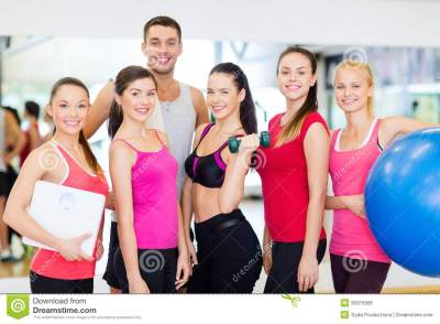 Group Of Smiling People In The Gym Stock Photo - Image of ...