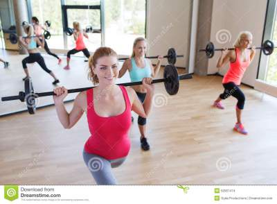 Group Of Women Excercising With Bars In Gym Stock Photo ...