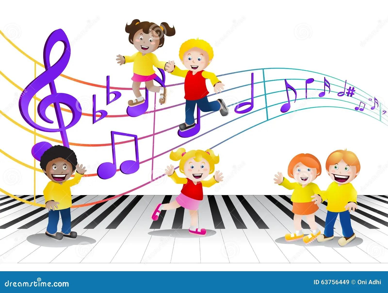Playing In The Fall Wallpaper Groupe D Enfants Devant Des Notes De Musique Illustration