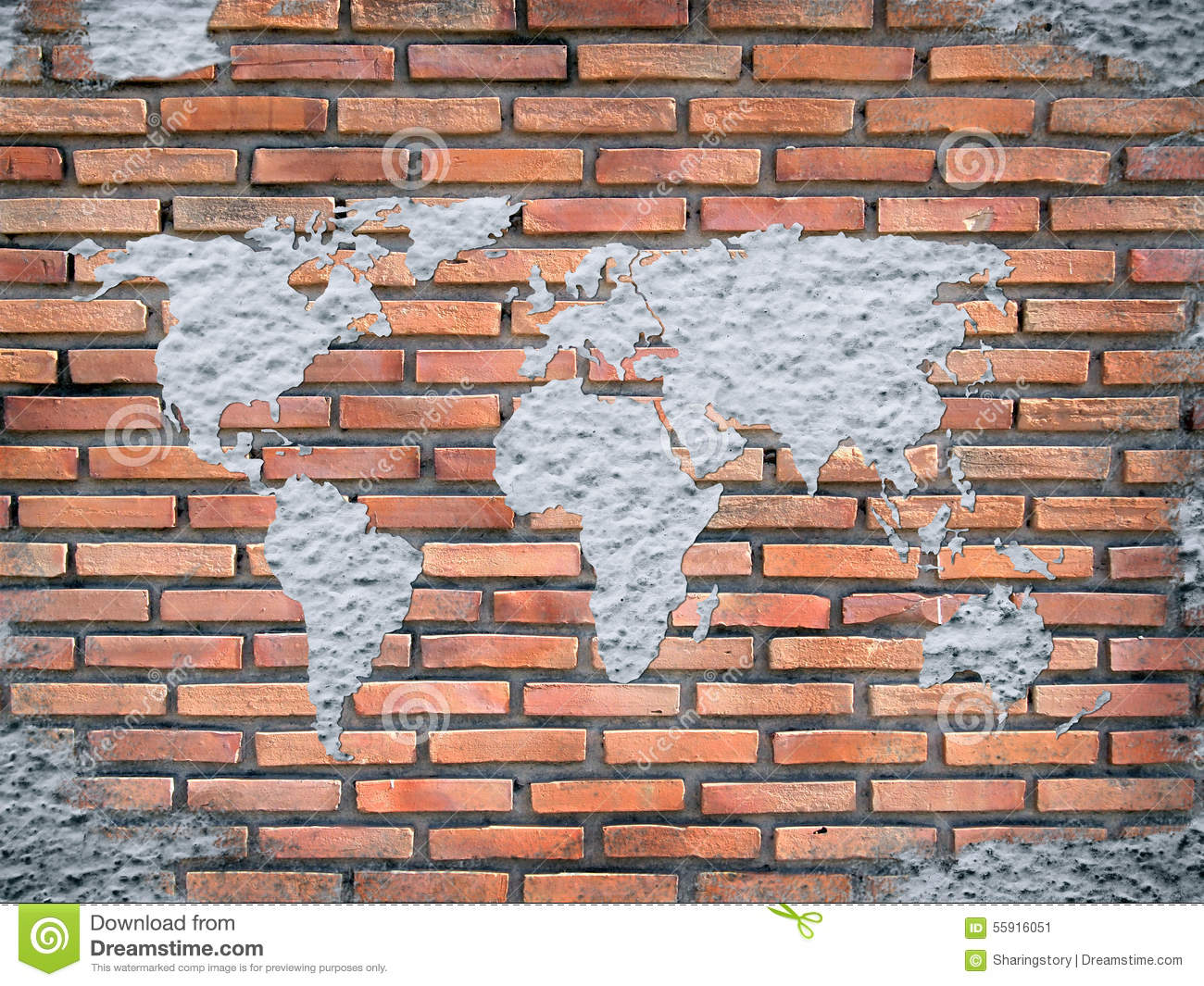 Building Construction Wallpaper Hd Grunge Concrete World Map On Old Brick Wall Stock