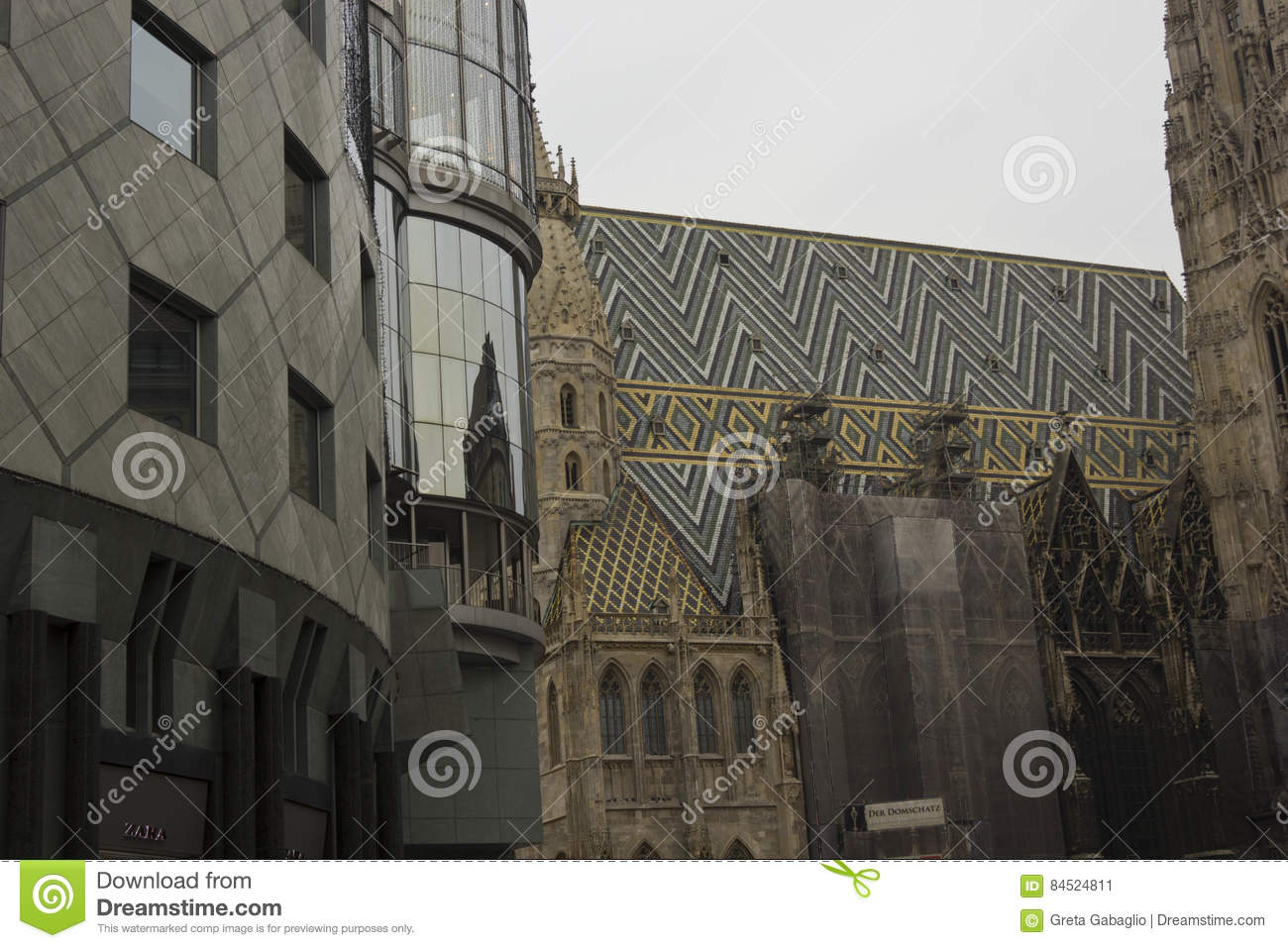 Haus 24 De Haas Haus Building And Stephansdom Cathedral In Vienna Editorial