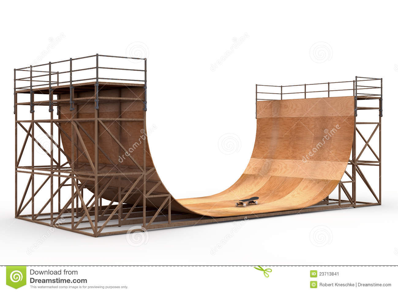 Halfpipe with skateboard stock illustration. Image of