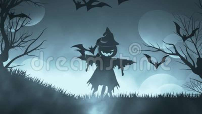 Halloween Background Animation With The Concep Of Spooky Scarecrow