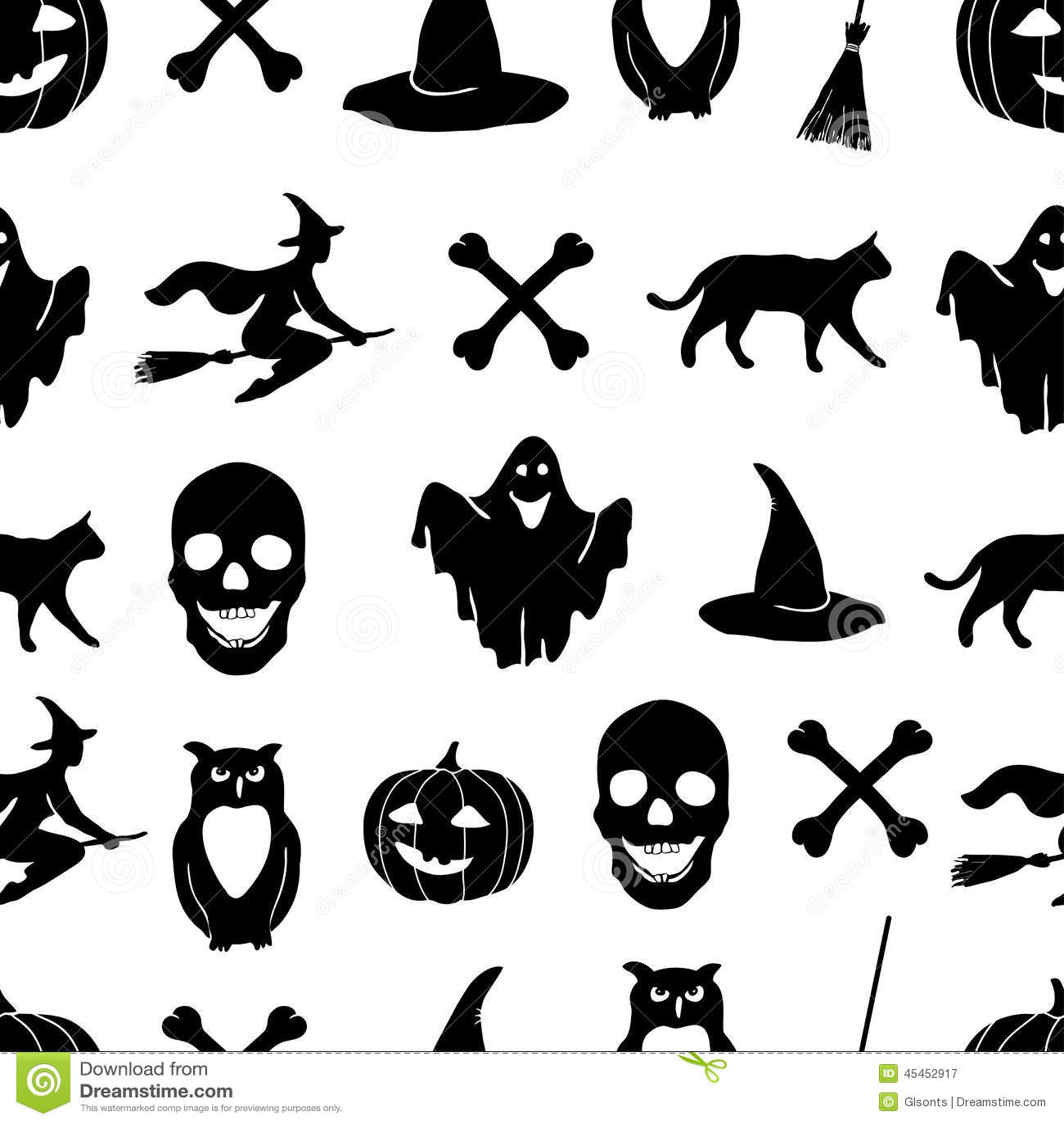 Skeleton Pattern Wallpaper Cute Halloween Background Eps Jpg Stock Vector Image 45452917
