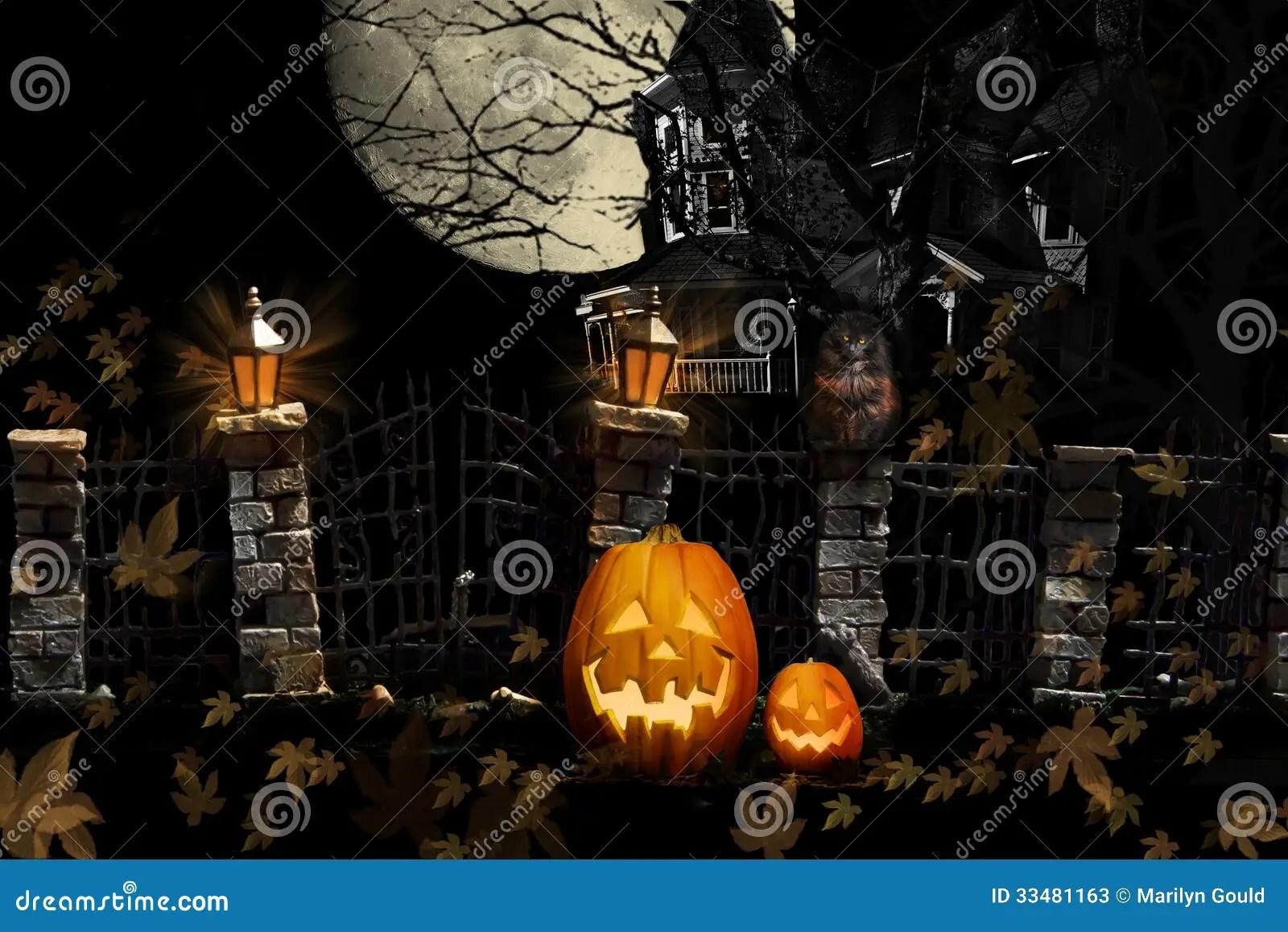 Fall Leaves Dancing Wallpaper Halloween Cat Pumpkins Haunted House Stock Image Image