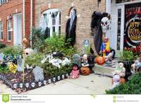 Halloween Front Door Decorations Stock Photo - Image: 62122078