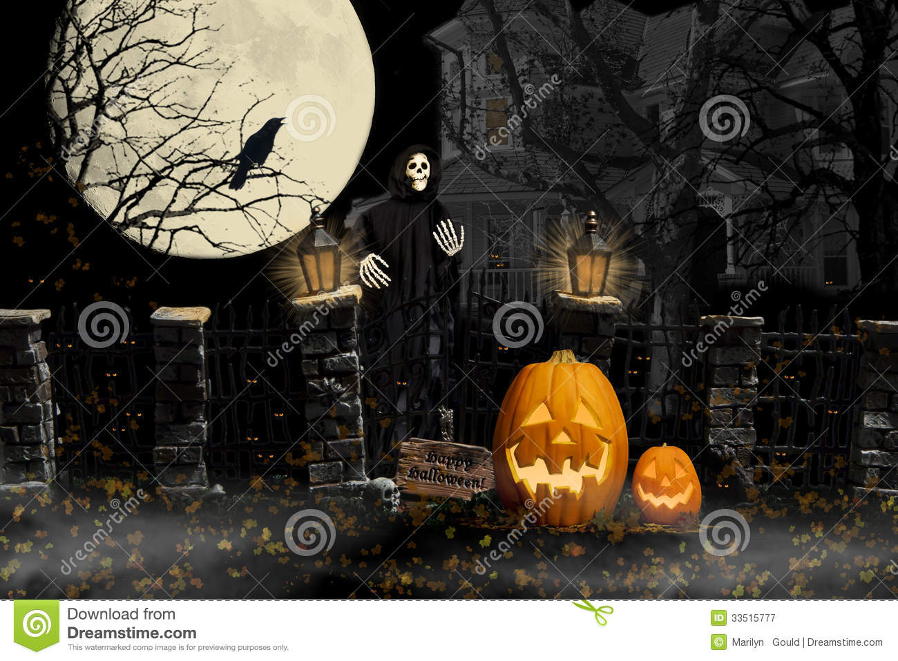 Creepy Fall Wallpaper Halloween Ghoul Haunted House Royalty Free Stock