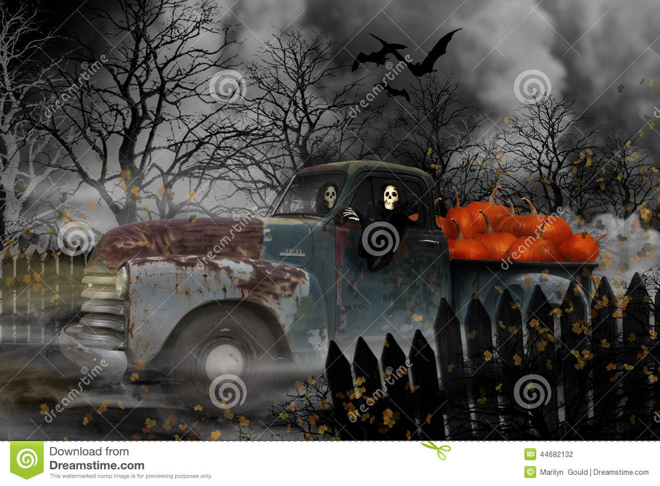 Fall Leaves And Pumpkins Wallpaper Halloween Ghouls In Old Chevy Truck Stock Illustration