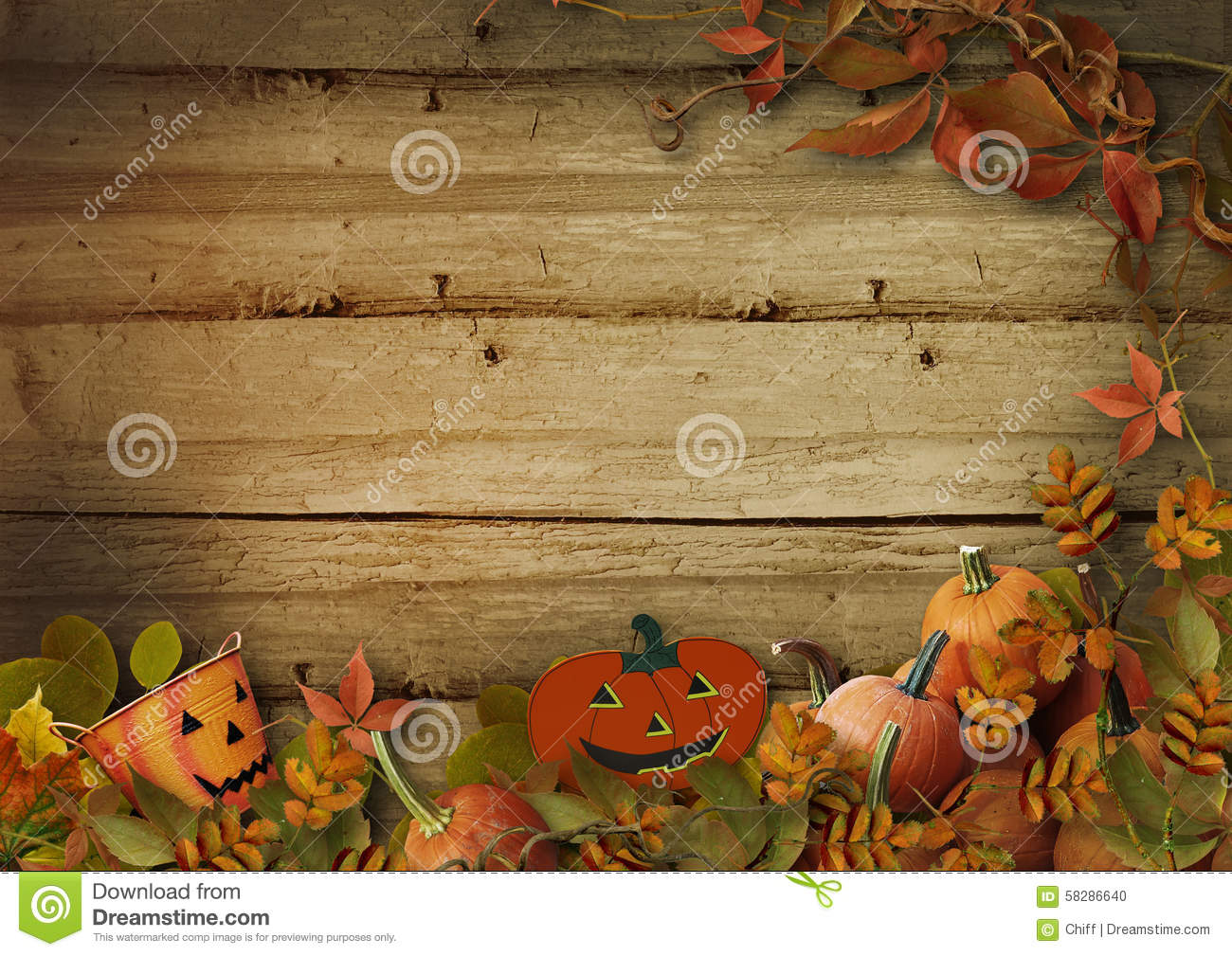 Fall Autumn Wallpaper Free Halloween Pumpkins And Autumn Leaves On Wooden Background