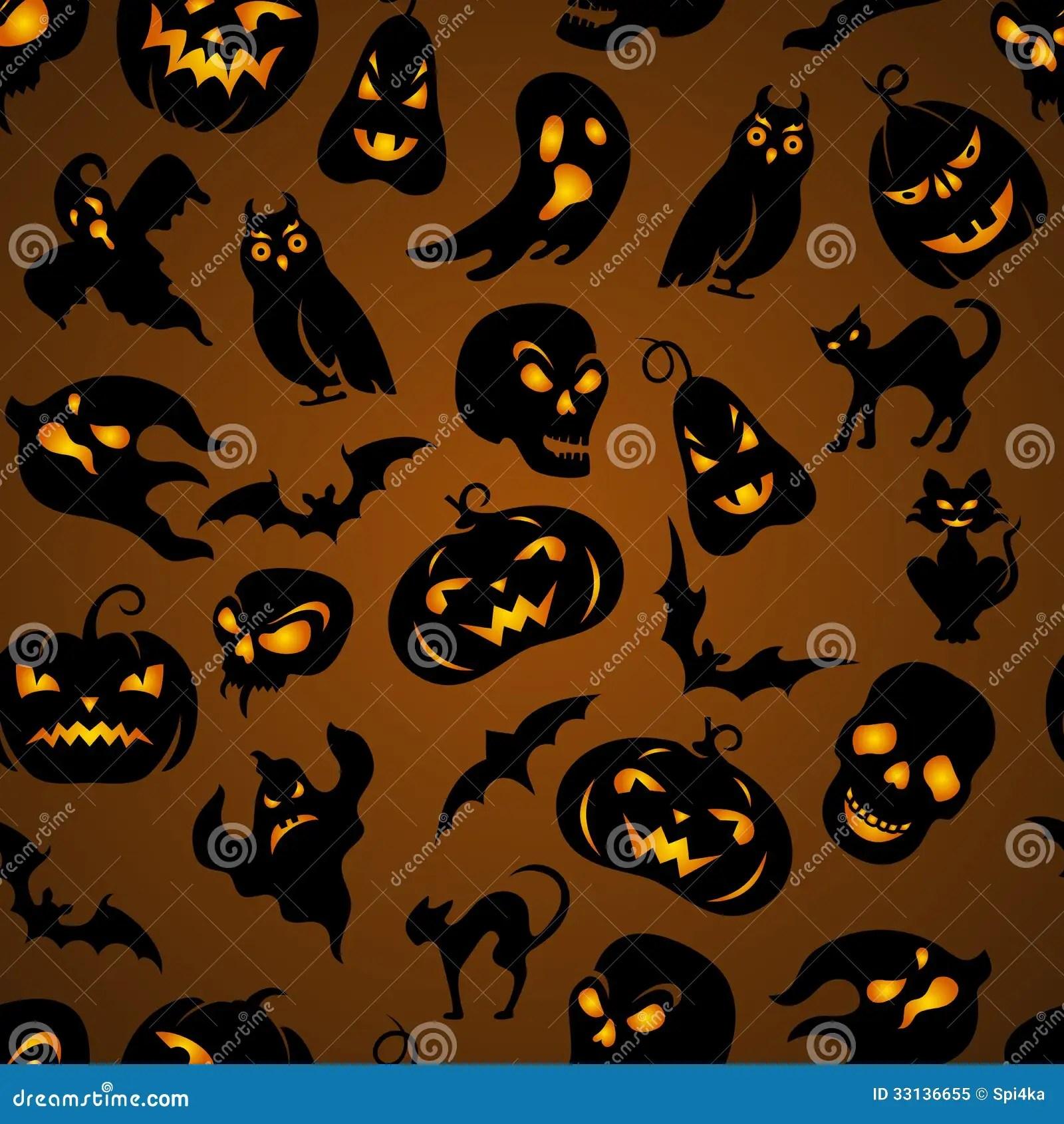 Fall Pumpkin Wallpaper Halloween Seamless Pattern Stock Vector Image Of Drawn