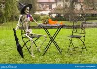 Halloween Skeleton Decoration In Garden Stock Photo ...