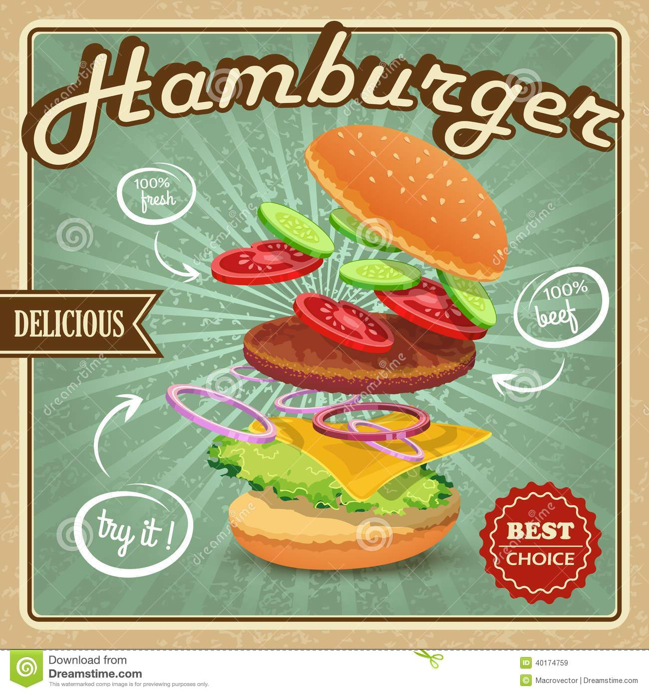 Amerikanische Restaurants Hamburg Hamburger Retro Poster Stock Vector Illustration Of