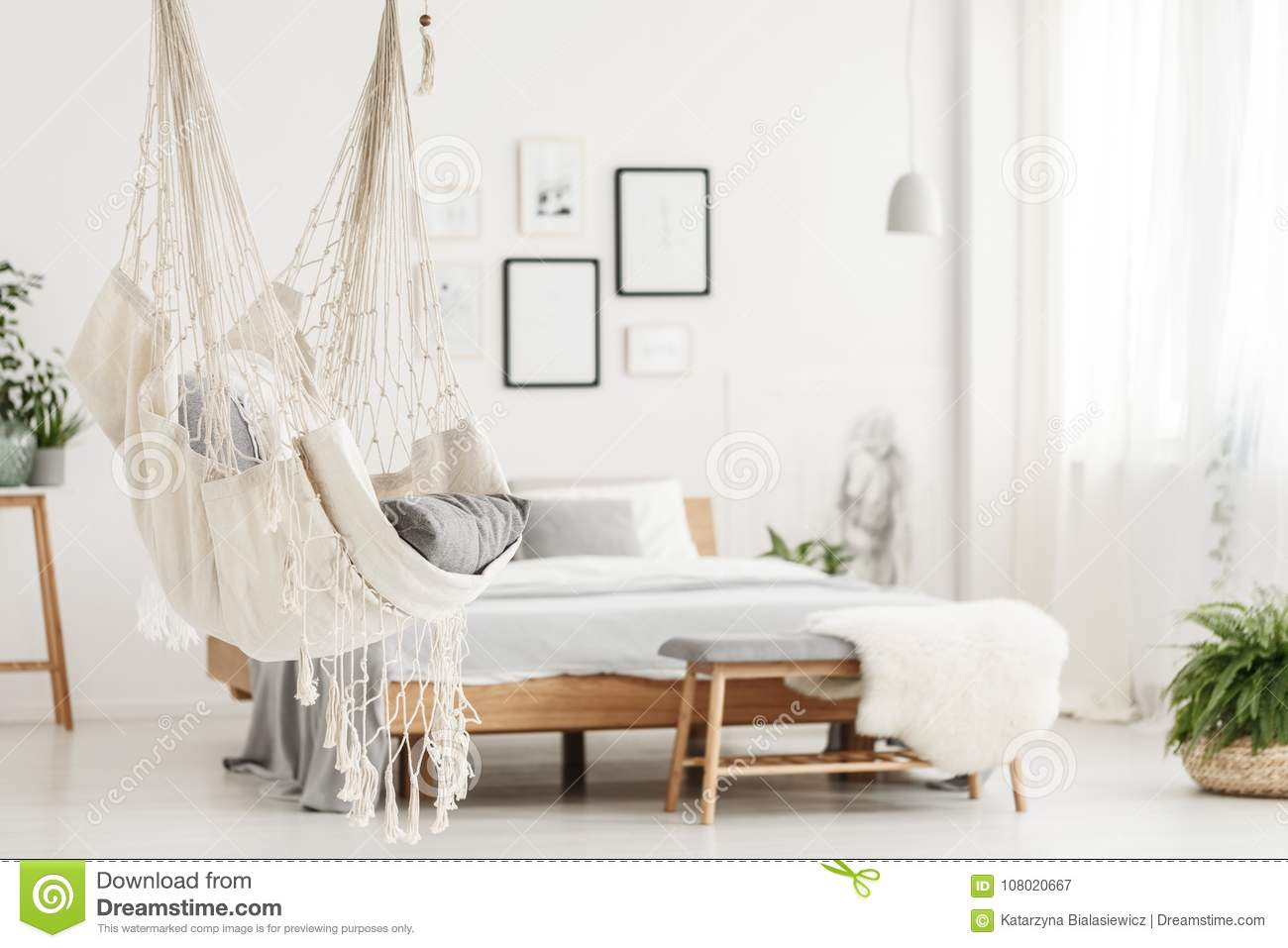 Bedroom White Background Hammock And Bed In Bedroom Stock Image Image Of Plants