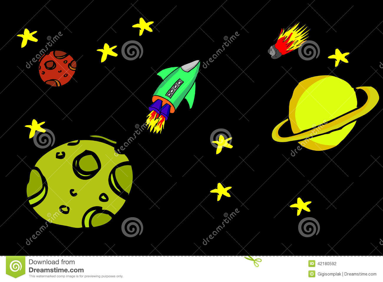 Raum Zeichnen Hand Draw Sketch Outer Space And Rocket Stock Vector