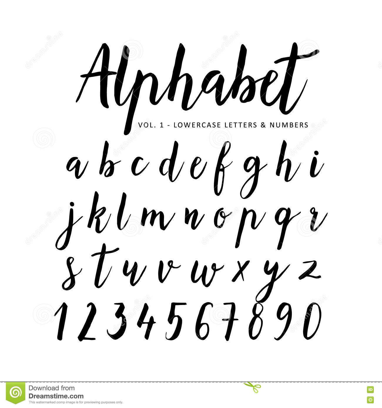 Calligraphy Fonts W Hand Drawn Alphabet Script Font Brush Font Stock Vector