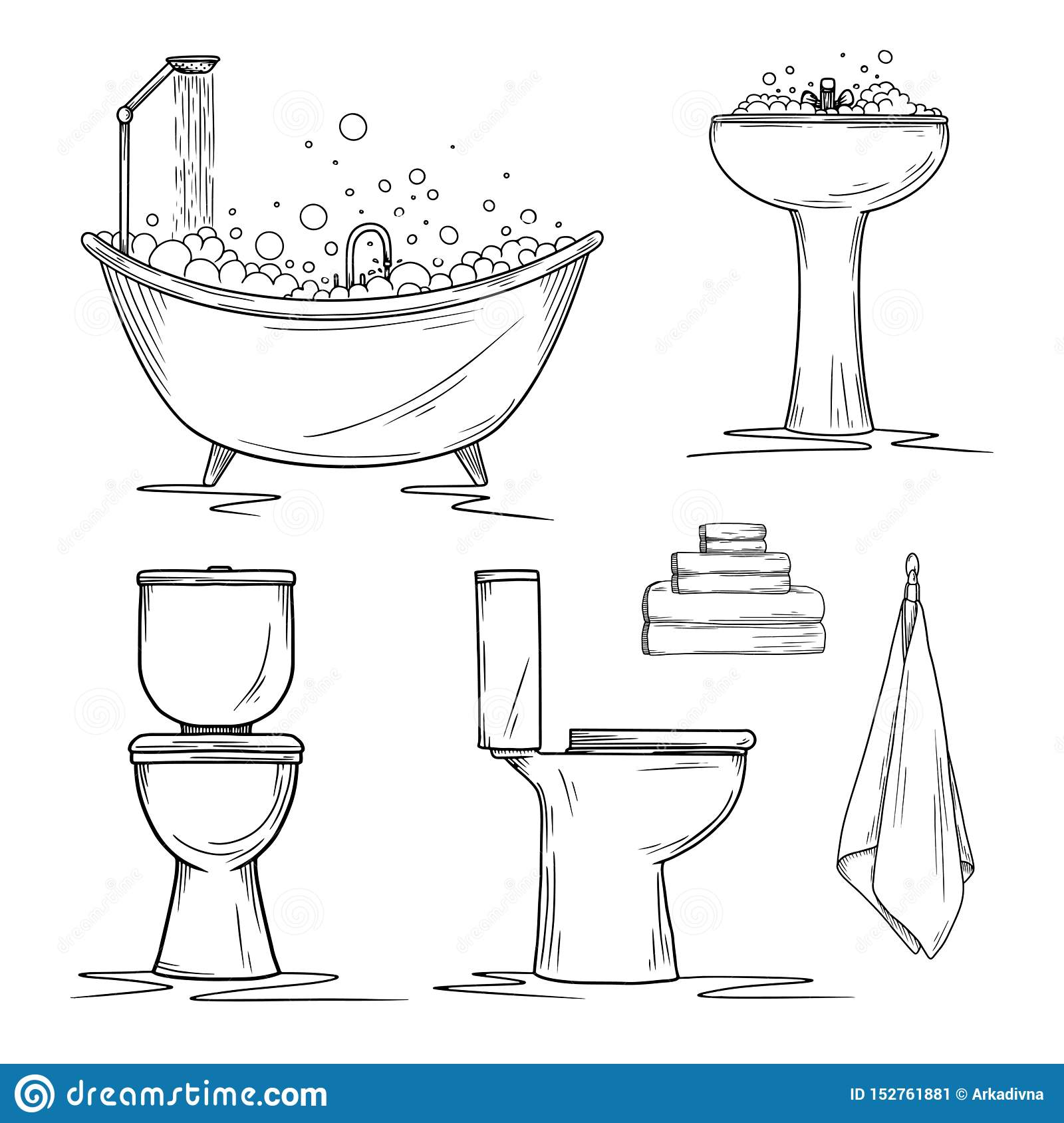 Hand Drawn Bathroom Interior Elements Toilet And Washbasin Bath And Towels Stock Illustration Illustration Of Corner Shower 152761881