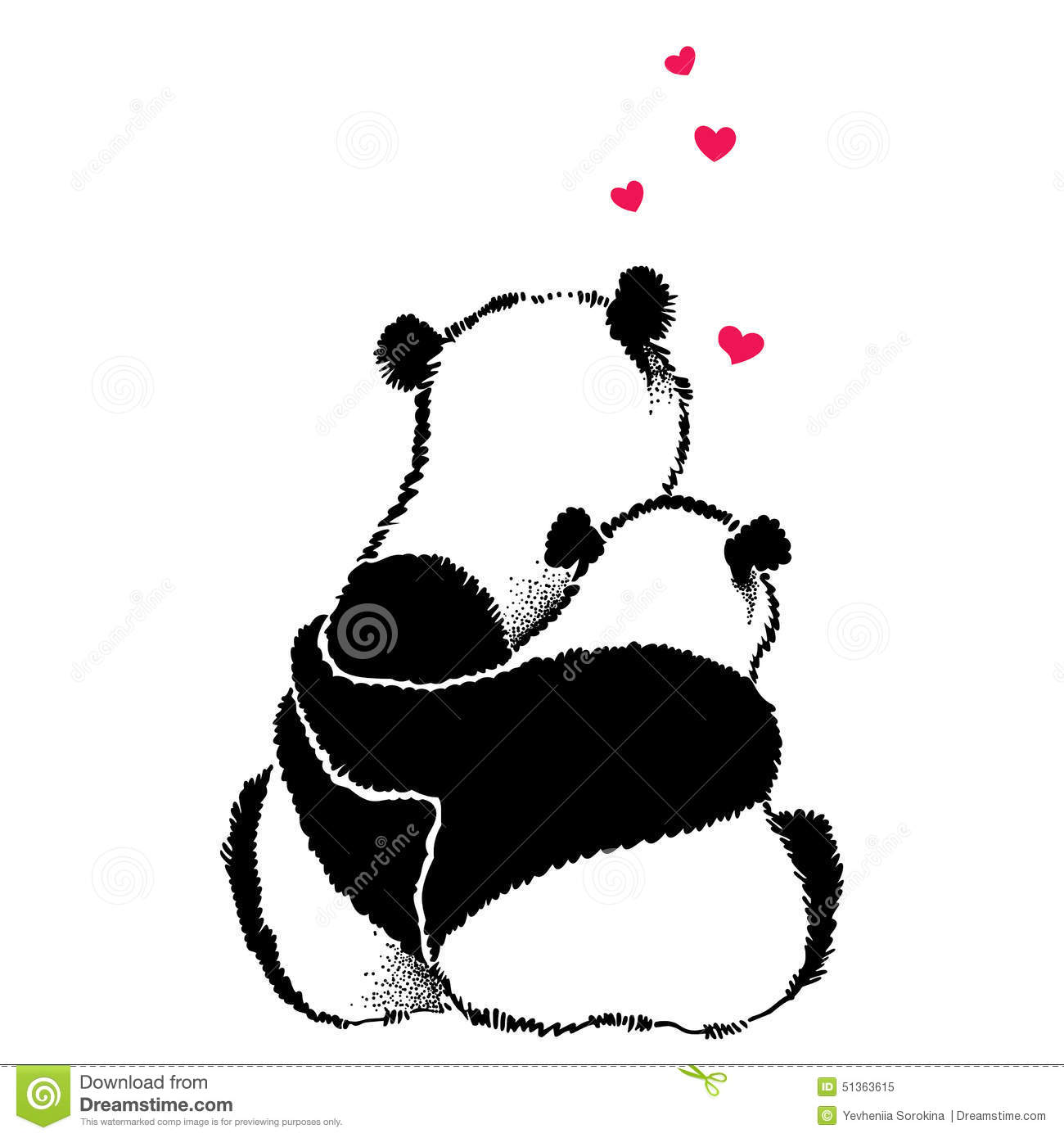 Cute Teddy Pics For Wallpaper Hand Drawn Illustration Of Panda Couple In Love Stock