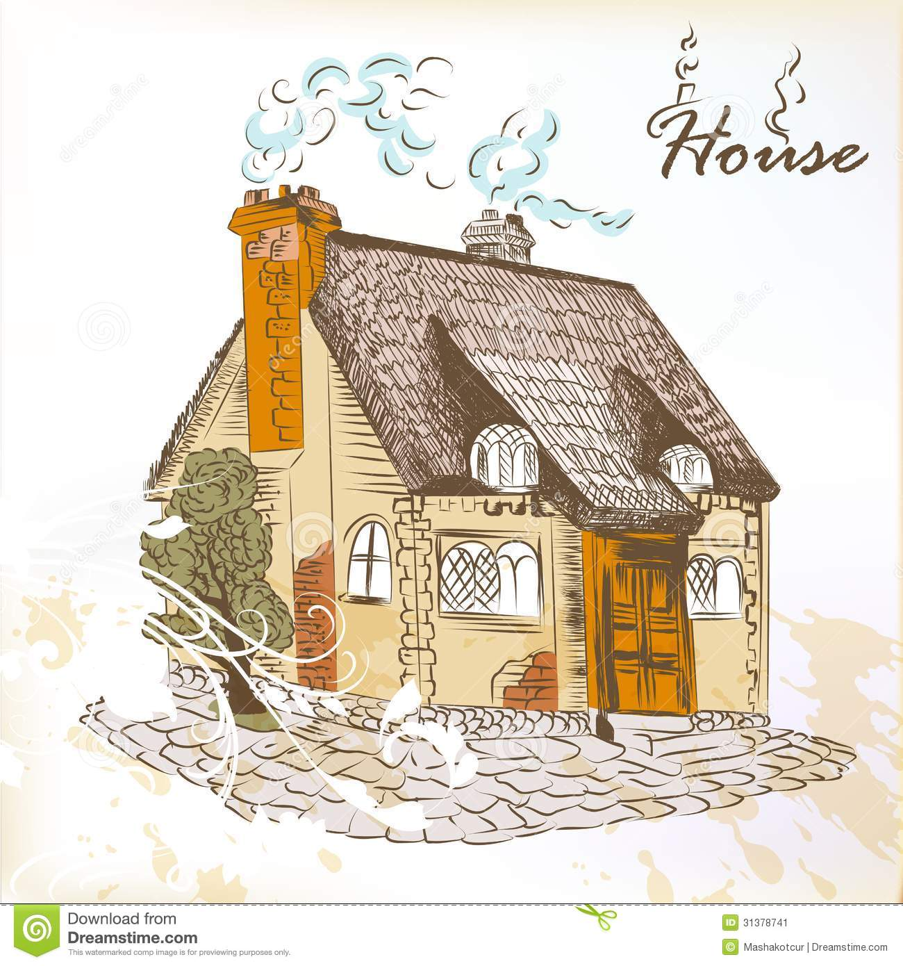 Cartoon Fall Wallpaper Hand Drawn Sketch Of Little House In English Style Stock
