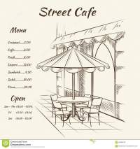 Hand Drawn Street Cafe Background Stock Vector - Image ...
