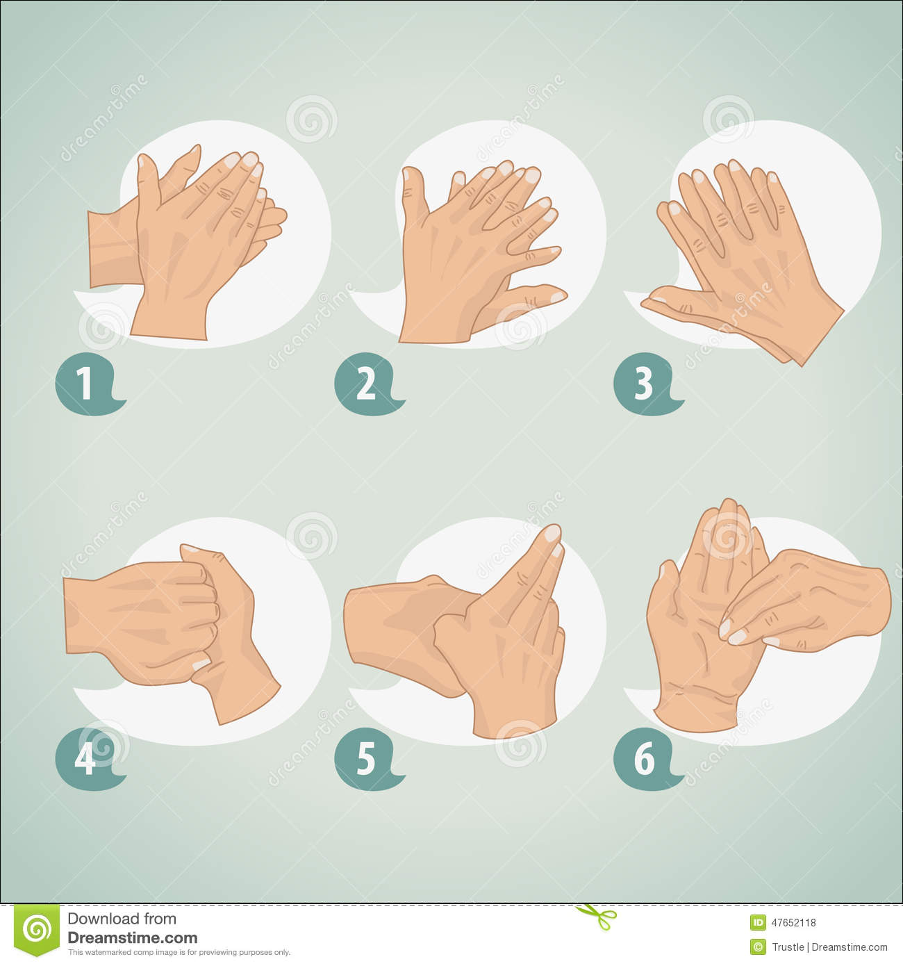 10 Hygieneregeln In Der Küche Hand Washing Procedure Stock Vector Illustration Of Life